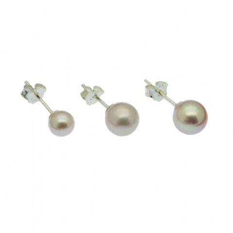 Round Lavender Pearl Stud Earrings Cultured Pearls Sterling Silver